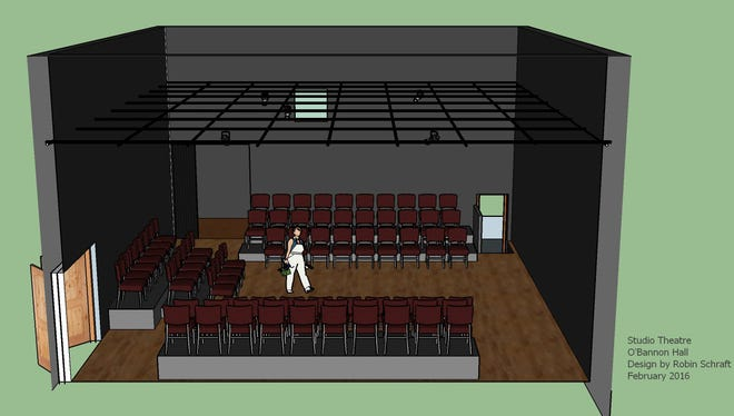 Renderings of the Sunderland Black Box Theatre as designed by Dr. Robin Schraft.