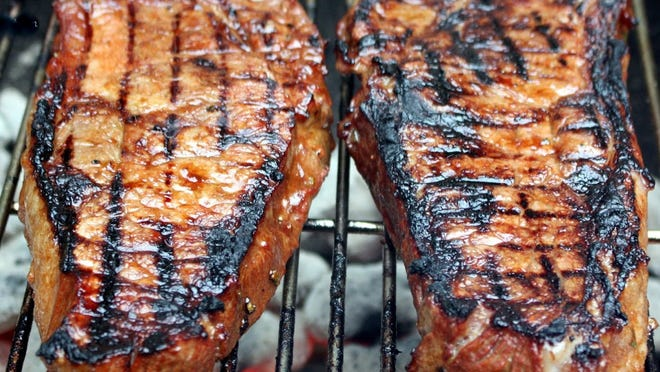 Grilled Strip Steaks.
