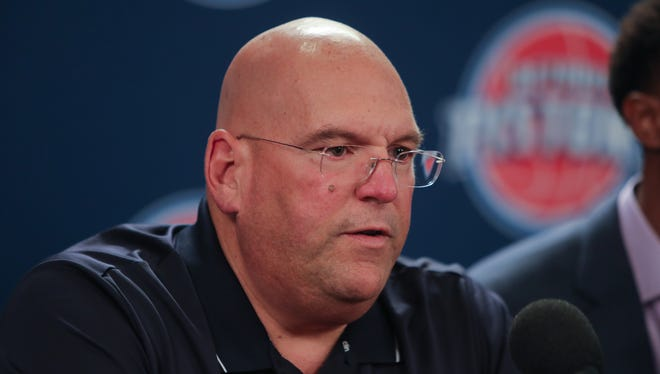 Detroit Pistons general manager Jeff Bower talks with reporters about signing free agents Ish Smith and Jon Leuer Friday, July 8, 2016 at The Palace of Auburn Hills.