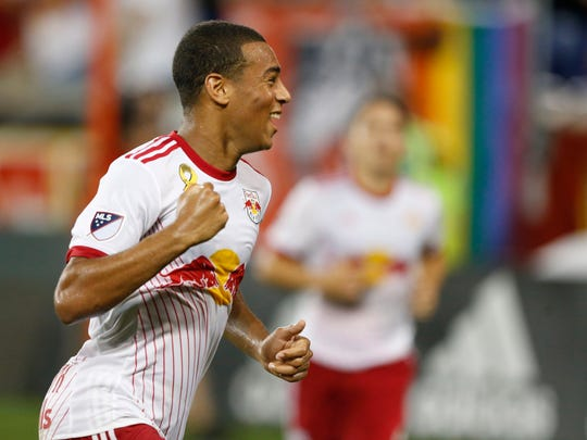 New York Red Bulls midfielder Tyler Adams celebrates