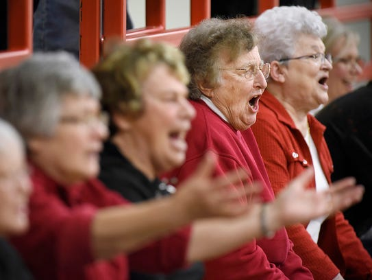 Sister Lois Wedl is unhappy with a referee's call as
