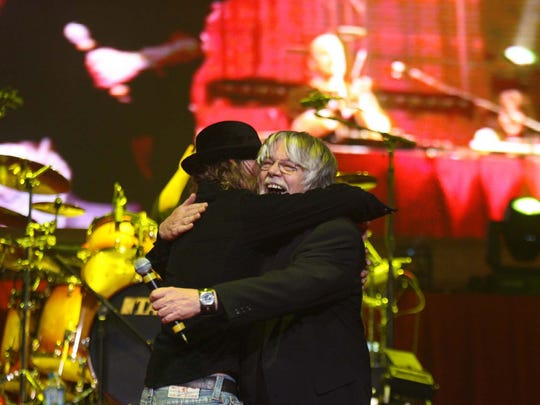Bob Seger joins Kid Rock on stage  at a sold-out concert at Joe Louis Arena on Friday February 3, 2006.