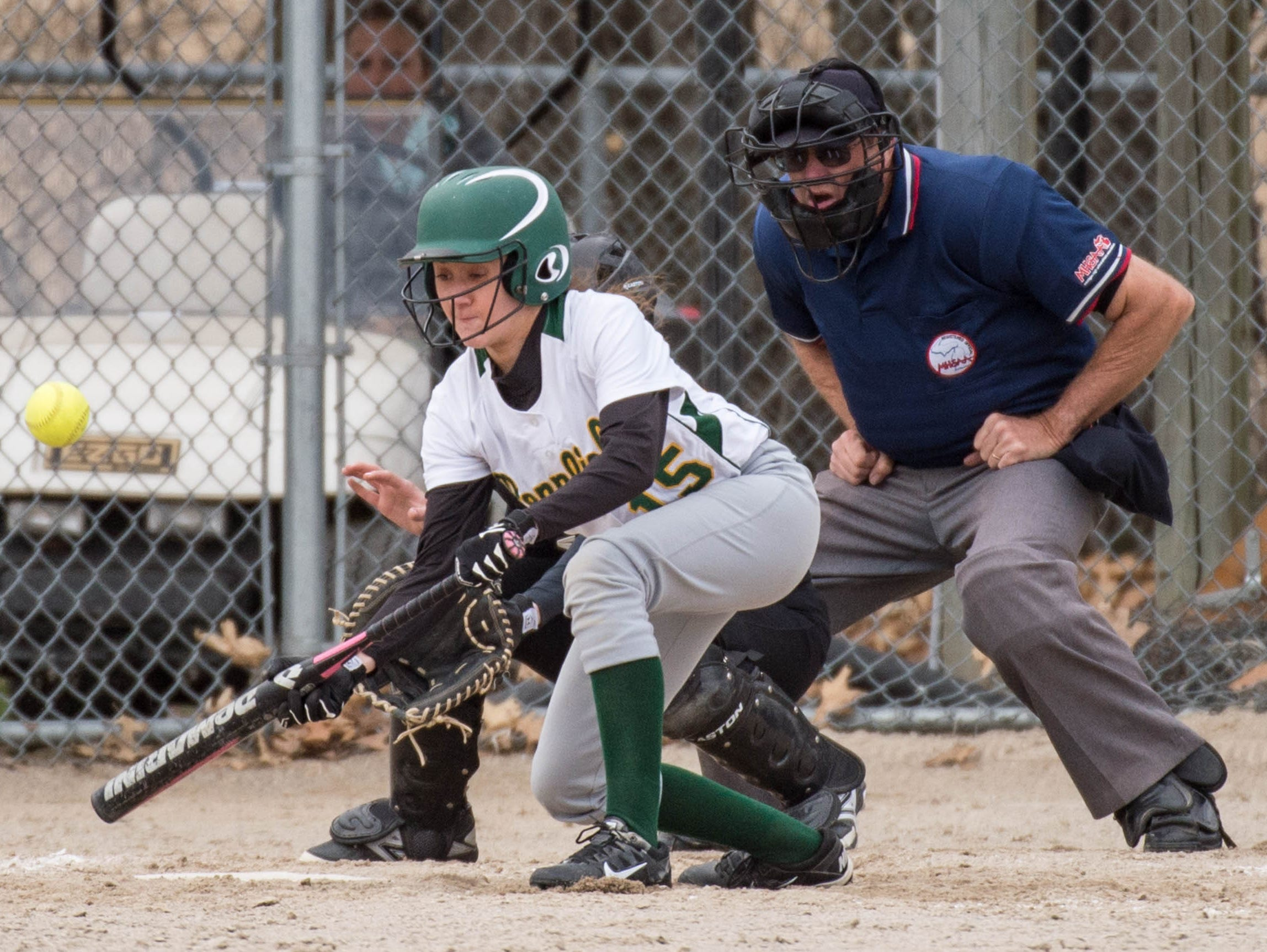 Pennfield's Kaitlyn Baird (15) bunts during a recent game against Lakeview.