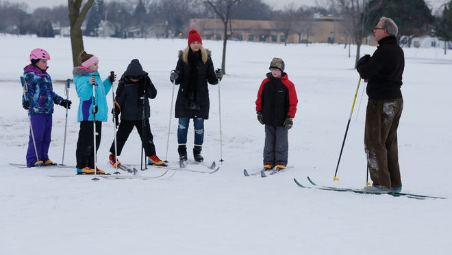 Students from Emmeline Cook and Webster Stanley enjoyed time out on the ice and in the snow by skating and skiing on Miller's Bay and in Menominee Park.  Students participated in Dr. Eric Smiltneek's Skate Club and was assisted by Steve Eliasen, teachers and volunteers.