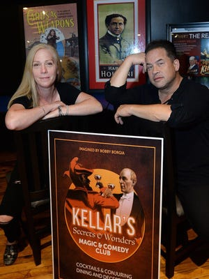 Co-owners Kristi Lewonas and magician Bobby Borgia pay homage to the famous magician Harry Kellar, born in Erie in 1849, at their new business, Kellar's A Modern Magic & Comedy Club.