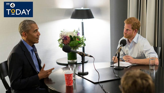 Former President Barack Obama is interviewed by Prince Harry for the BBC Radio 4 Today program on Dec. 27, 2017.