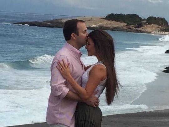 Lance Gooden and fiancee Alexa Calligas on Ipanema