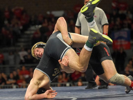 Evan Hansen wrestled for Grand View in Saturday's NAIA