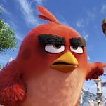 """Red (Jason Sudeikis) leads the charge against the pig invaders in """"The Angry Birds Movie."""""""