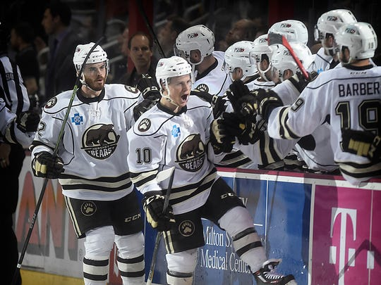 Hershey's Dustin Gazley (10) celebrates after scoring the first goal of the game Sunday two minutes into the contest. The Bears beat the Wilkes-Barre/Scranton Penguins in Game 7, 3-2 in overtime.
