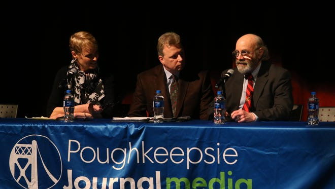 From left, Mary Beth Pfeiffer, John Penney, Poughkeepsie Journal Engagement Editor and Dr. Kenneth Leigner lead a discussion during the Poughkeepsie Journal Lyme Disease Forum at Marist College on April 17, 2018.