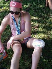 Lauren Dunbar injured her knee while running but pushed through.