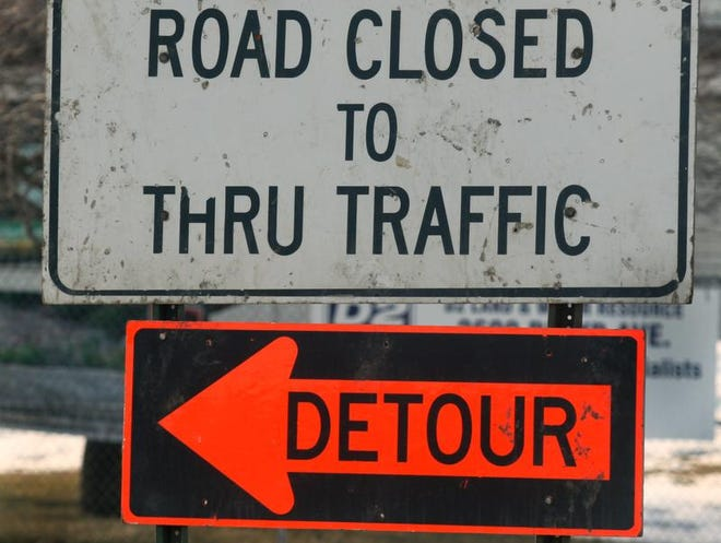 A portion of Bloyd Rd. at Roosevelt Ave., near Santarossa Mosaic & Tile Co., Inc. (2707 E. Roosevelt Ave.) is closed  heading to the underpass on I-70, Friday, February 23, 2007.  Highway construction begins on Monday, and businesses like Santarossa, as well as commuters and other travelers will feel the traffic changes as roads are closed and alternate routes are used.  (Kelly Wilkinson / The Indianapolis Star)