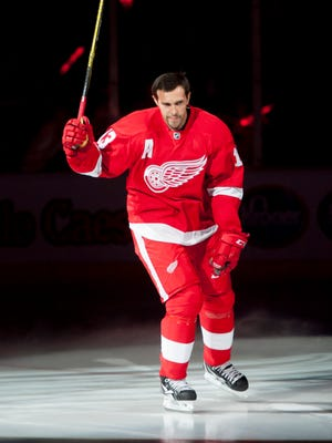 Pavel Datsyuk is introduced before the game against the Toronto Maple Leafs during the regular-season home opener at Joe Louis Arena  Oct. 9, 2015.