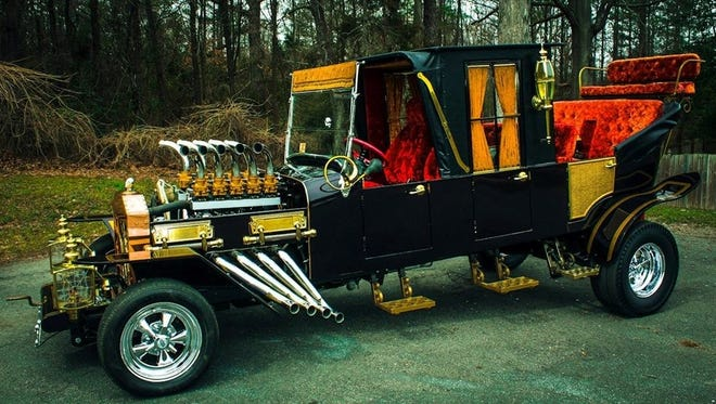 """This is Grandpa Munster's """"Dragula"""" coffin dragster. It will be on display at the Mid-America Street Rod Nationals in Springfield May 25-27."""