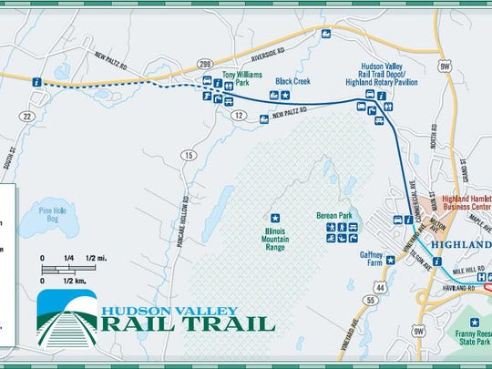 A map of the Hudson Valley Rail Trail.