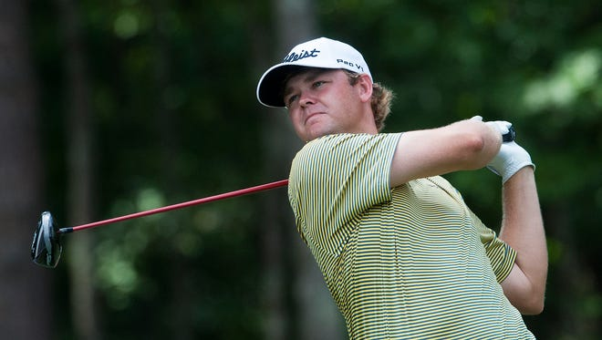 Patton Kizzire watches his tee shot at the PGA Barbasol Championship at the Robert Trent Jones Grand National in Opelika , Ala. on Thursday July 16, 2015.