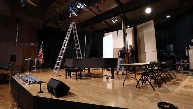 Set up is underway at Bellarmine University for the Bluegrass Polls Gubernatorial Debate.September 14, 2015
