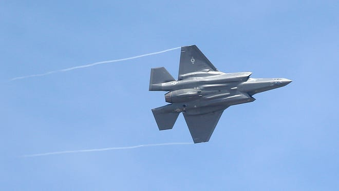 An F-35 jet arrives at its new operational base in Utah.