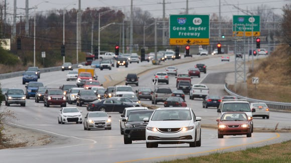 Traffic gets congested on Preston Highway looking north towards the Gene Snyder Freeway.Nov. 23, 2016