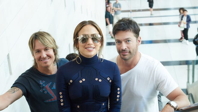 'American Idol' judges Keith Urban, left, Jennifer Lopez and Harry Connick Jr., return for the Fox singing competition's final season on Jan. 6.