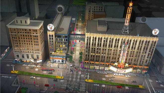Little Caesars is holding a job fair for IT workers  who will eventually will work in the new Little Caesars Global Resource Center, a new building to be built on Woodward and Columbia Streets as part of the Ilitch family's planned District Detroit as shown in this  2014 conceptual rendering.