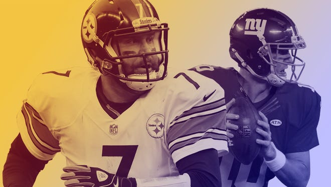 Steelers QB Ben Roethlisberger (7) and Giants QB Eli Manning will meet for the fourth time Sunday afternoon.