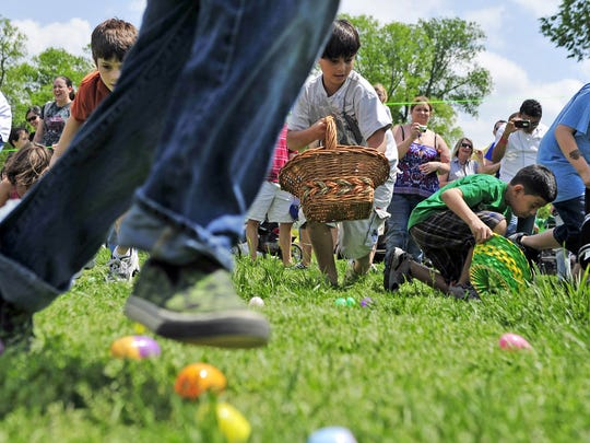 Children run out during the annual Eggstravaganzoo easter egg hunt event at Nashville Zoo at Grassmere April 23, 2011 in Nashville, Tenn.