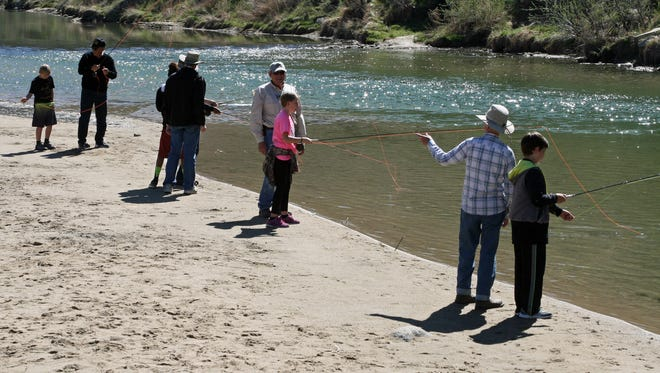 Hermosa Middle School students receive fly-fishing lessons from volunteers of the San Juan Fly Fishing Federation on May 3 along the San Juan River at the Cottonwood Campground at Navajo Dam.