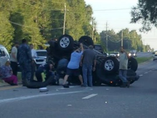 A Jeep Wrangler rolled over after a crash Wednesday, Aug, 23, 2017, near State Road 89 and Oakland Drive in Santa Rosa County. No one was injured in the wreck.