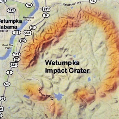 An image of the crater on display at the Wetumpka Civic