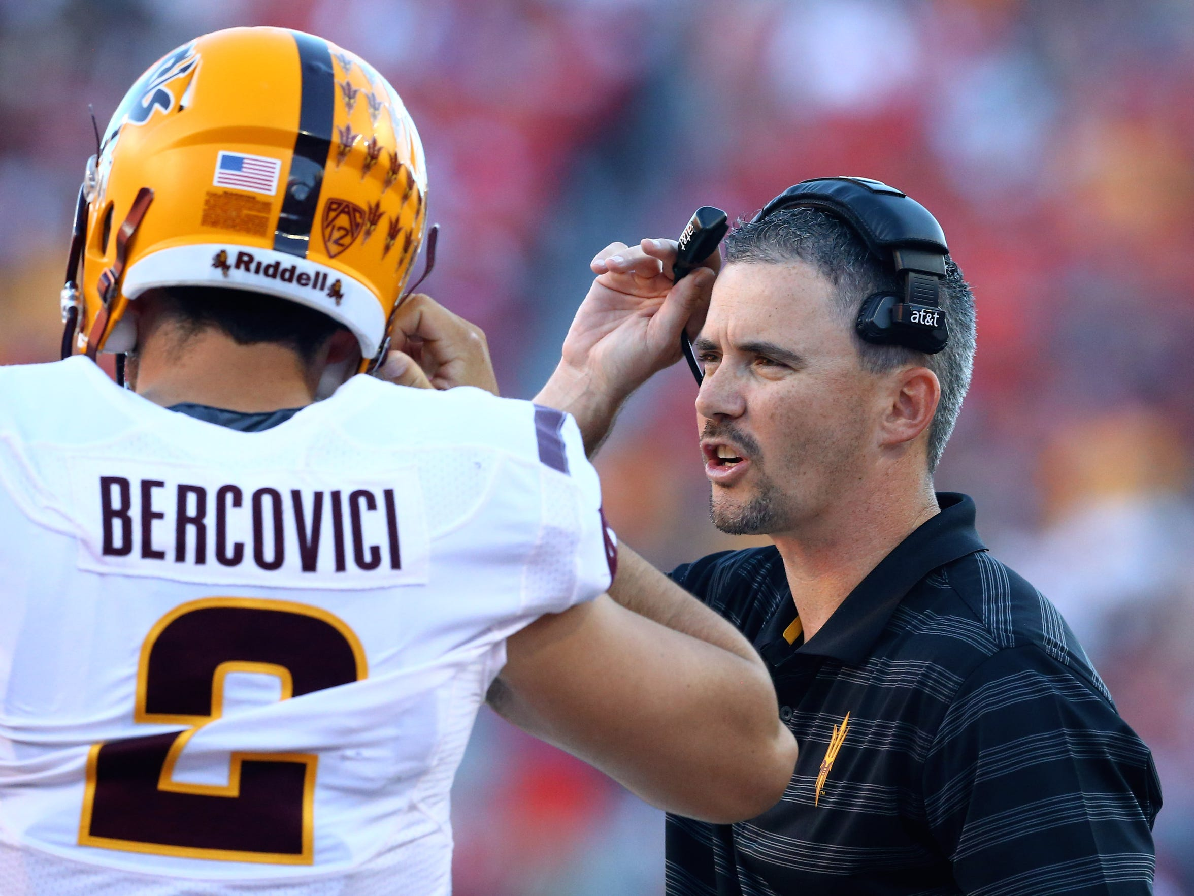Arizona State offensive coordinator Mike Norvell (right)