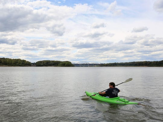 Vince Loomis, 61, heads out on the water with his kayak  near the Clarksville boat ramp off Emery Crossing.