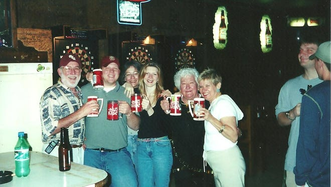 Wayne Wallace, far left, with his family at Ken's Tavern including daughter Aimee (third from right), wife Gail and his mother-in-law visiting from England.