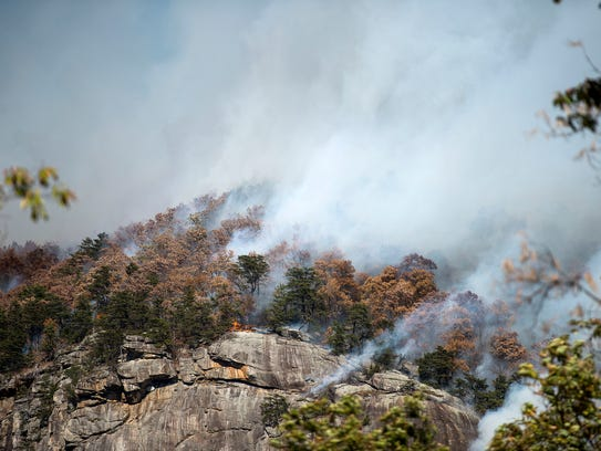 Smoke from the Party Rock fire near Lake Lure spreads