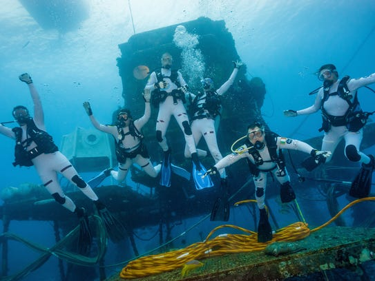 Dawn Kernagis, second from left, during the NEEMO