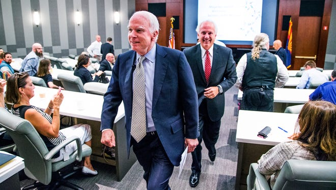 Sen. John McCain, R-Ariz., leaves Thursday after speaking to employees of Magellan Health in Scottsdale. McCain is running for a sixth Senate term in 2016.
