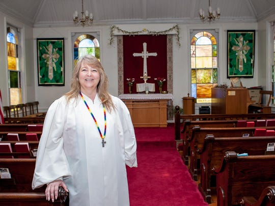 Pastor Dawn Maffetone inside the historic Rockaway Valley United Methodist church in Boonton Township.