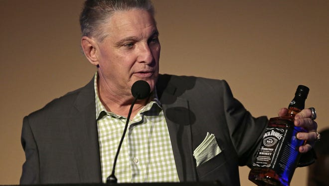 """Jeff Ruby, owner and founder of Jeff Ruby's Steakhouse, speaks during the Cincinnati Storytellers """"Downtown Dreamers"""" event at The Phoenix on Thursday."""