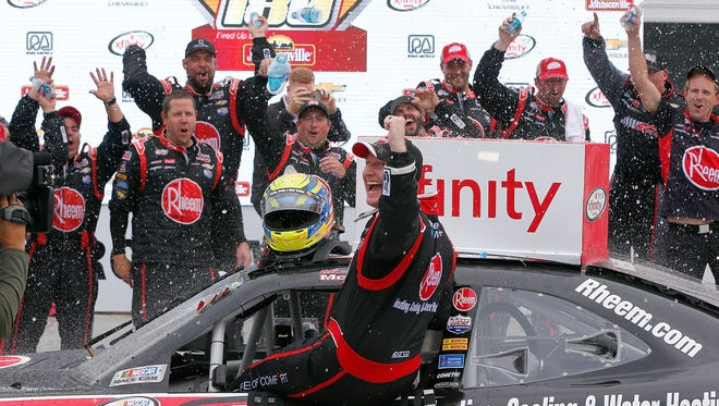 Michael McDowell celebrates his victory Saturday in the NASCAR Xfinity Series Road America 180.