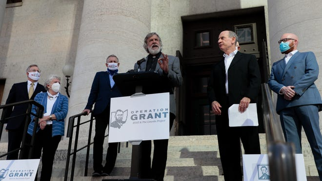 Christopher Gibbs, a former chairman of the Shelby County Republican Party, speaks about his disagreements with President Donald Trump on trade and agricultural policies during an Operation Grant press conference outside the Statehouse Thursday. Operation Grant, like the national anti-Trump group The Lincoln Project, wants Republicans to reject Trump and vote for Democratic presidential nominee Joe Biden in November.