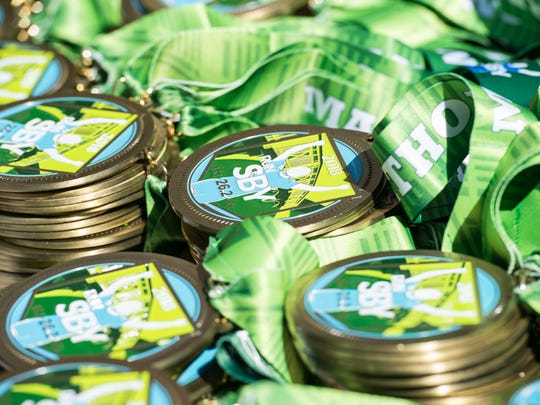 A view of the Salisbury Marathon Medals on Saturday,