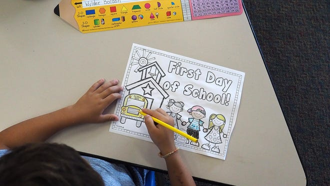 First-graders in Erin Lane's classroom attend the first day of school Monday, at the New Franklin School in Portsmouth in 2018.
