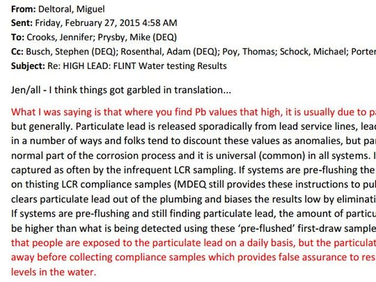 This email, acquired by Virginia Tech researcher Marc Edwards through the Freedom of Information Act, show an email from EPA drinking water specialist Miguel Del Toral and MDEQ officials. Emphasis added by Edwards.