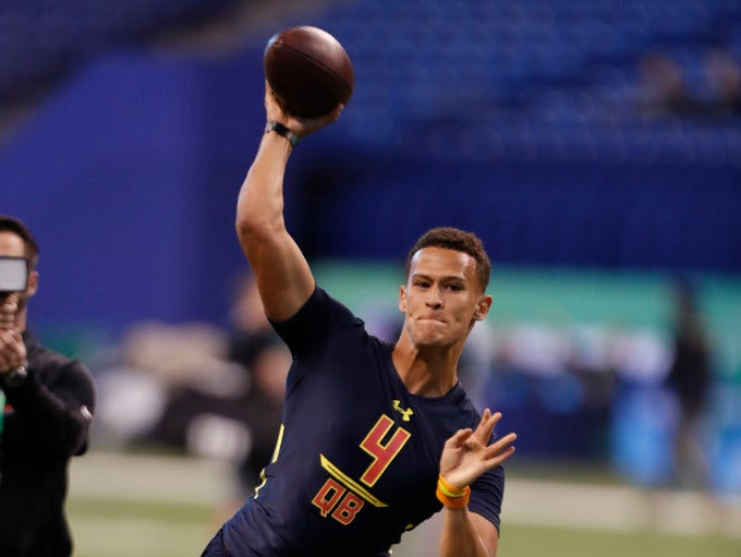 Miami quarterback Brad Kaaya, who has met with Giants brass, during the 2017 NFL Combine.