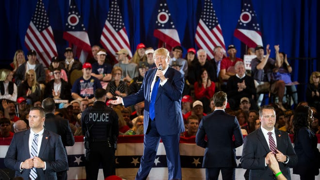 Republican presidential candidate Donald Trump speaks during a campaign stop at the Savannah Center, in West Chester, Ohio Sunday.