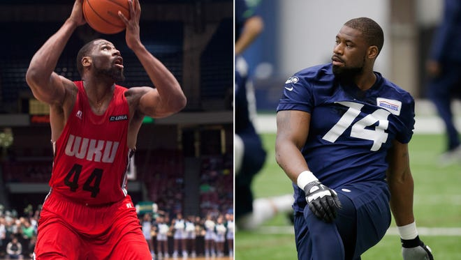Western Kentucky forward George Fant looks to shoot during a Conference USA tournament second-round NCAA college basketball game against UAB in Birmingham, Ala. At right, in a May 8, 2016, file photo, Seattle Seahawks' George Fant stretches during a rookie minicamp workout in Renton, Wash. Fant is exactly the kind of project the Seahawks like. Fant is a former college basketball player attempting the transition to playing offensive tackle in the NFL. His next chance at impressing the Seahawks comes Thursday night when they face Minnesota.