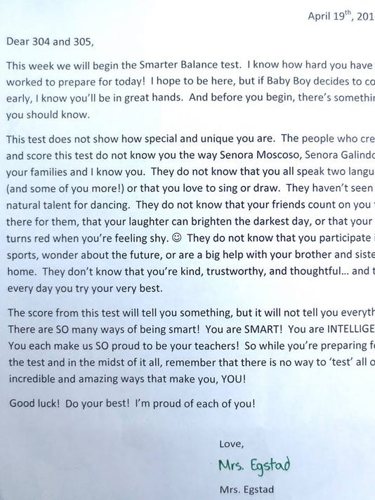 teacher letter: test doesn't show how 'unique you are'