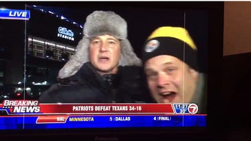 Obnoxious Steelers fan tries to interrupt reporter's live shot