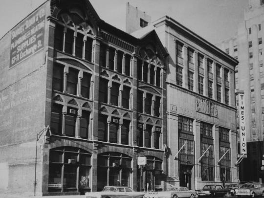 This 1963 photo shows Samuel Sloan & Co., a plumbing and heating supply business at 69-71 Exchange Blvd. that used to be the Gannett building's neighbor.